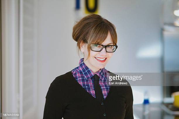 Woman wearing mens tie