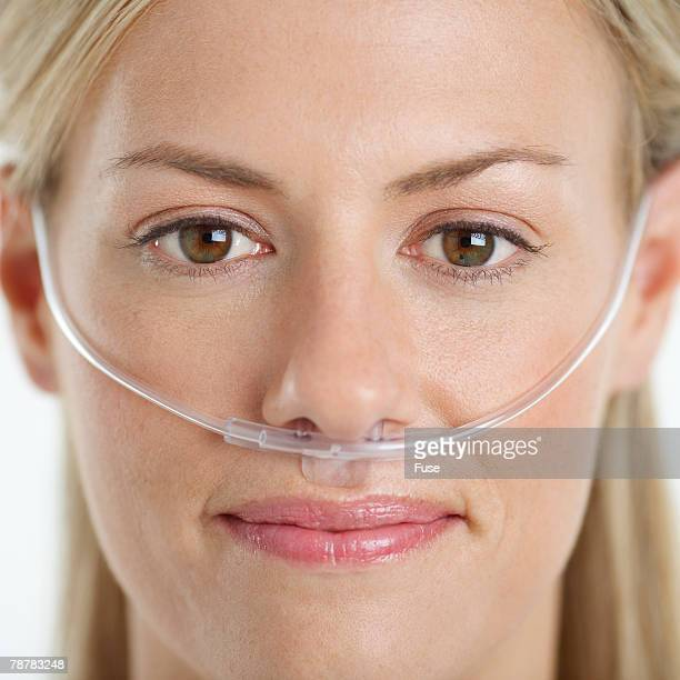 Woman Wearing Nasal Cannula for Supplemental Oxygen