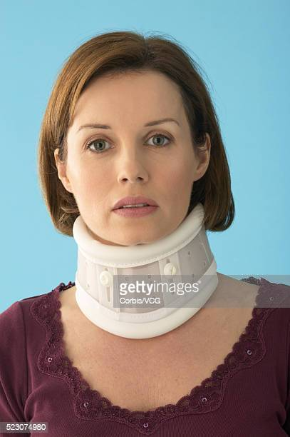 Woman Wearing Neck Brace