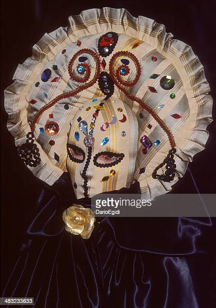 Woman wearing particular venetian mask: velvet, precious fabric with stones