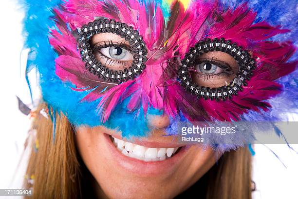 woman wearing party mask - mardi gras girls stock photos and pictures