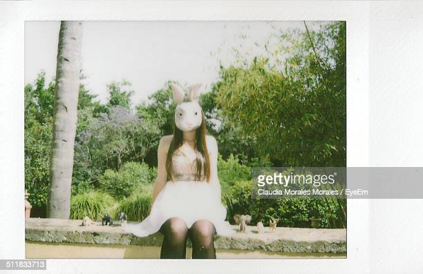 woman wearing rabbit costume - rabbit mask stock pictures, royalty-free photos & images