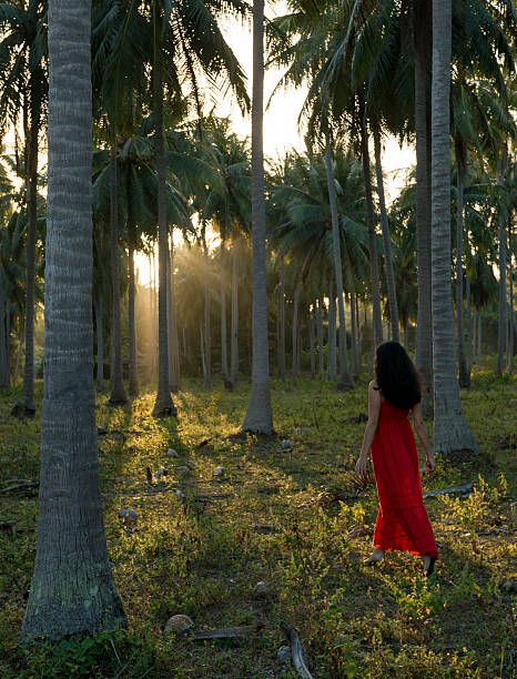 Woman Wearing Red Dress Walking In Forest Of Palm Trees Wall Art