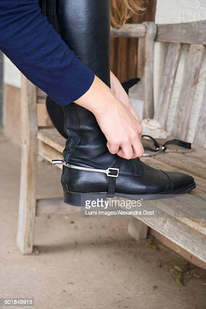 woman wearing riding boots, baden wuerttemberg, germany, europe - riding boot stock pictures, royalty-free photos & images