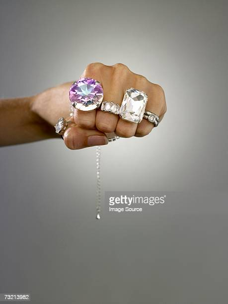 Woman wearing rings on her fingers