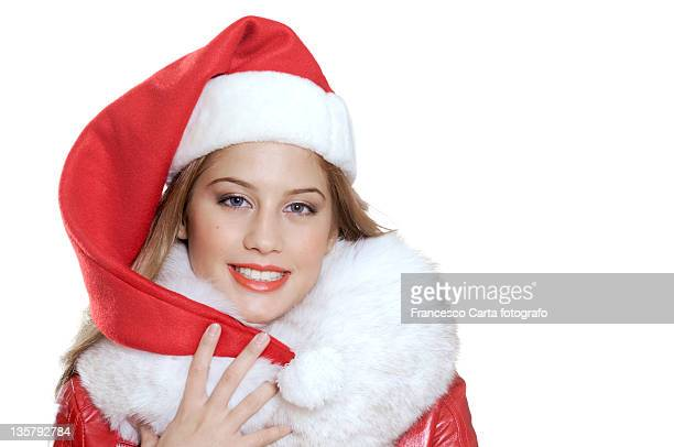 Woman wearing Santa Claus hat