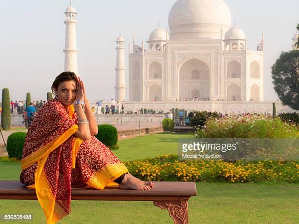 Woman wearing sari at Taj Mahal
