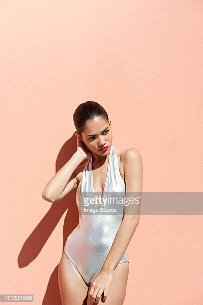 woman wearing sexy silver  bikini - beautiful puerto rican women stock photos and pictures
