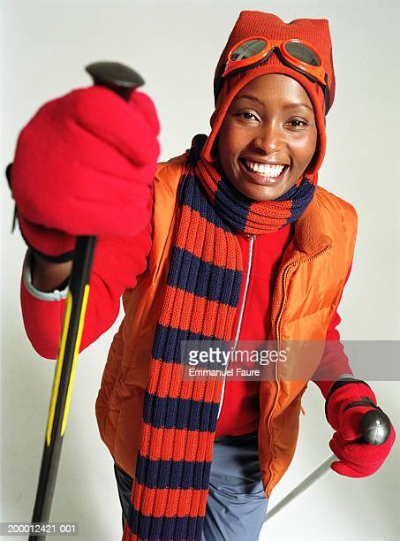 Woman wearing ski gear, portrait