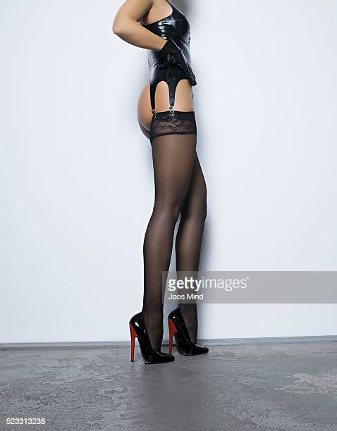 Woman wearing stockings and high heels