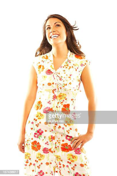woman wearing sundress - floral pattern dress stock pictures, royalty-free photos & images