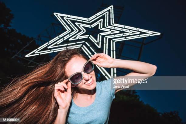 Woman Wearing Sunglasses At Night