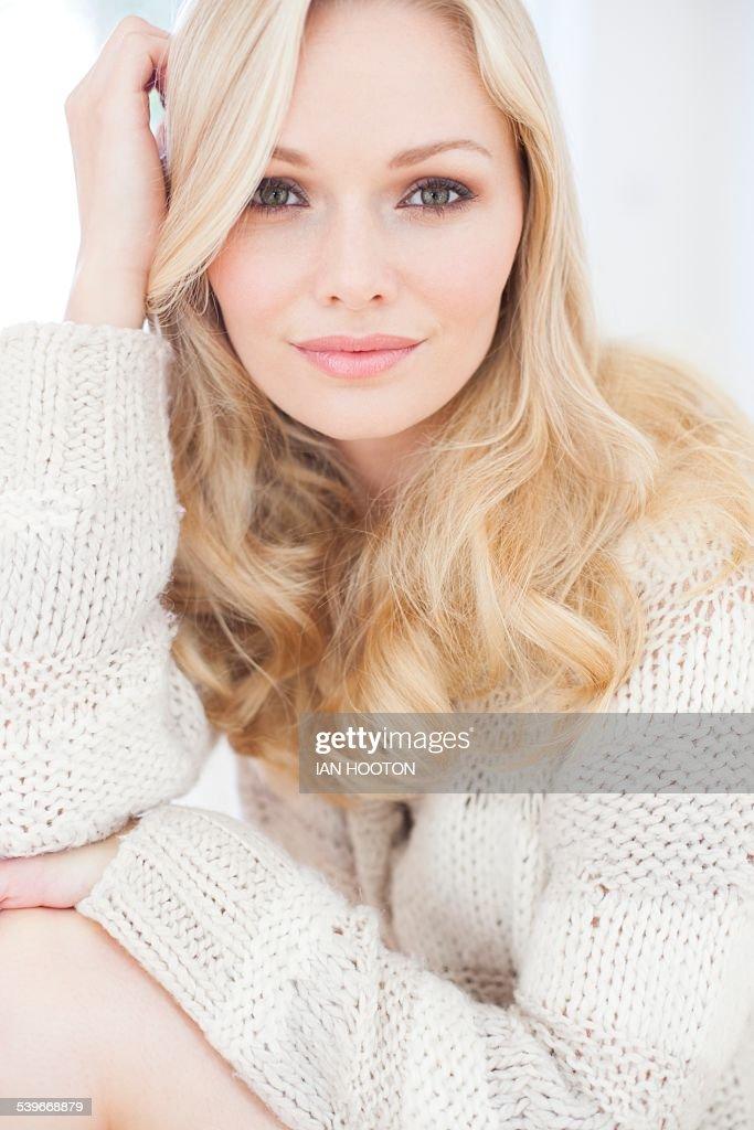 Woman wearing sweater : Stock Photo
