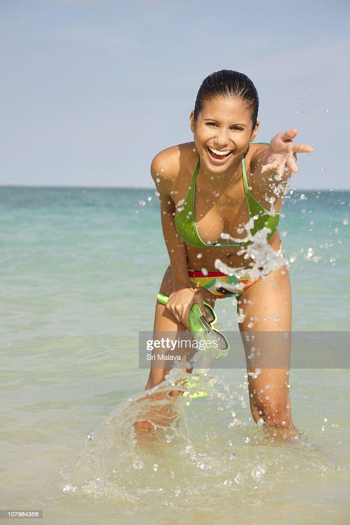 Woman wearing swimsuit on Kailua Beach, Hawaii : Stock Photo