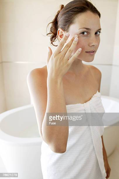 Woman Wearing Towel in Bathroom