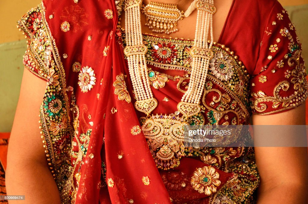 Woman Wearing Traditional Gold Jewellery In Neck Rajasthan India ...