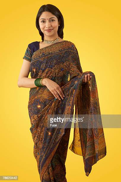 Woman Wearing Traditional Sari