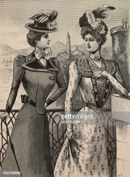 Woman wearing travelling dress with velvet lapels and boater hat woman wearing taffeta chine summer dress Louise Piret designs engraving from La Mode...