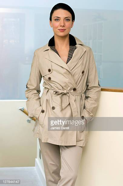 Woman wearing trench coat