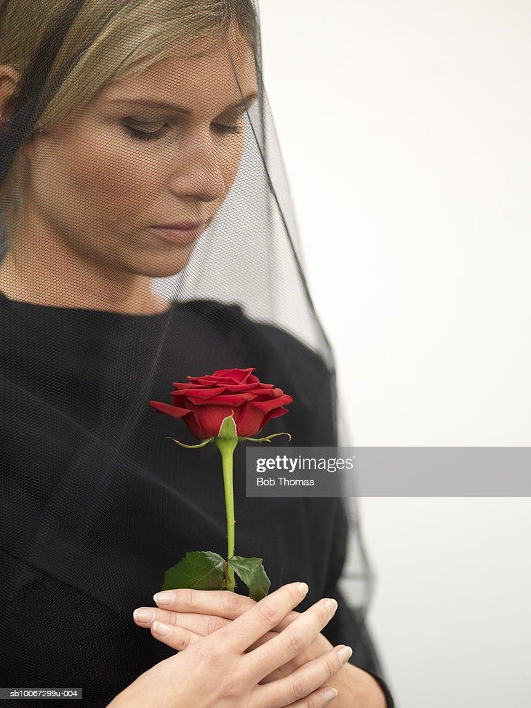 Woman wearing veil holding rose, close-up : Foto de stock