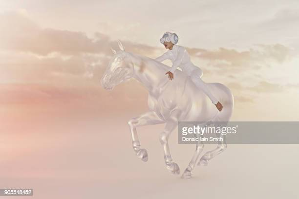 Woman wearing virtual reality goggles riding horse in sky