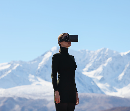 Woman wearing virtual reality headset - gettyimageskorea
