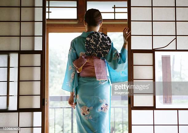 Woman wearing Yukata and paperfan
