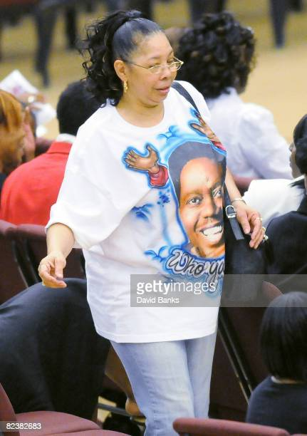 Woman wears a Bernie Mac shirt at a memorial service for Bernie Mac at the The House of Hope Church on August 16, 2008 in Chicago, Illinois.