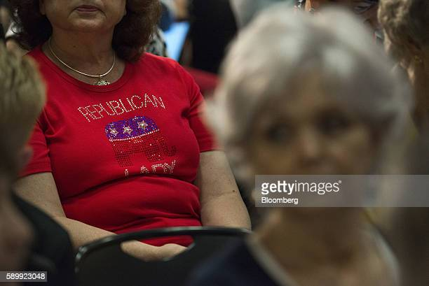 A woman wears a Republican Lady shirt before a campaign event with Donald Trump 2016 Republican presidential nominee at Youngstown State University...