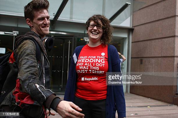 A woman wears a slogan Tshirt at the Republican street party in Red Lion square during the Royal Wedding of Prince William to Catherine Middleton at...