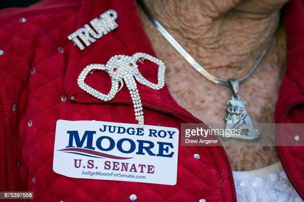 A woman wears a sticker supporting Roy Moore during a 'Women For Moore' rally in support of Republican candidate for US Senate Judge Roy Moore in...