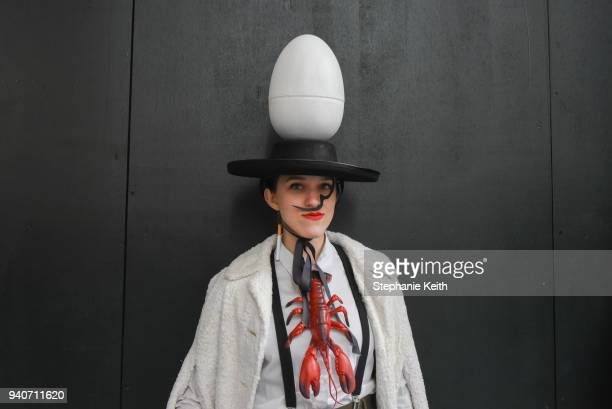 A woman wears an Easter bonnet while participating in the annual Easter parade along 5th Ave on April 1 2018 in New York City Dating back to the...