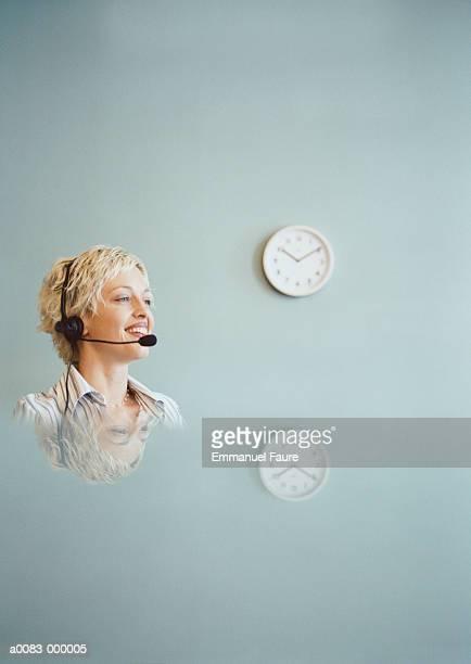 Woman Wears Telephone Headset