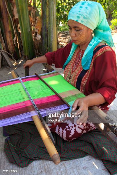 Woman weaving on Sumbawa in Indonesia