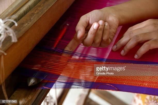Woman Weaving Saree on Handloom at Maharashtra, India, Asia