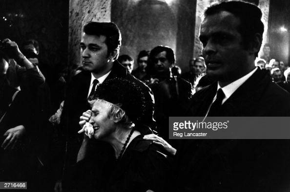 A woman weeping at a funeral for one of the victims of the fighting in Czechoslovakia