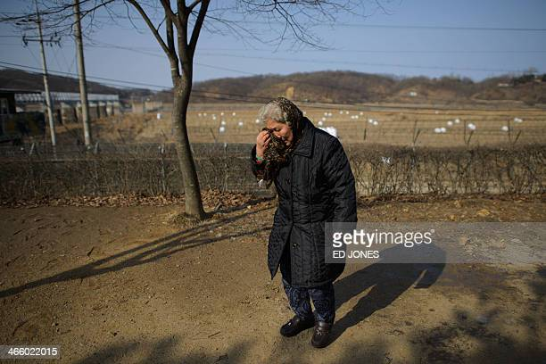 Woman weeps for relatives in North Korea as she visits the Demilitarized Zone at Imjingak, Paju, in South Korea's Gyeonggi Province on January 31,...