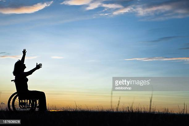 woman wheelchair and nature - paraplegic woman stock photos and pictures