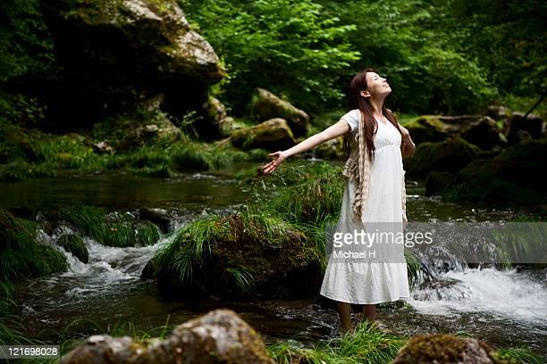 Woman who enjoys rich nature