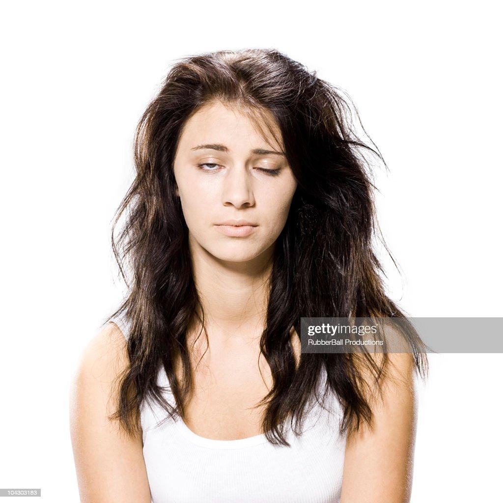 woman who just woke up : Stock Photo