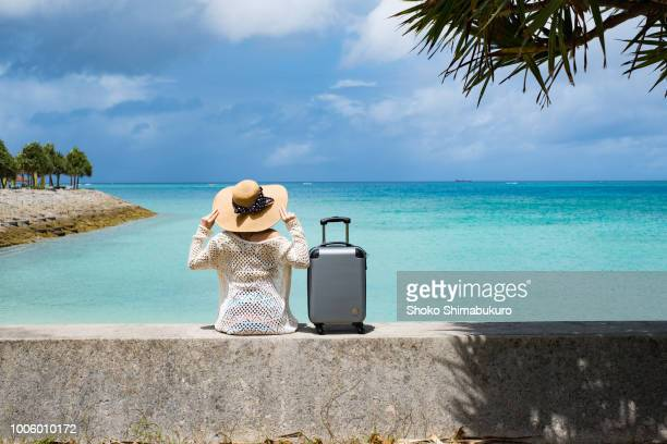 a woman who travels alone in a rich country town of nature. - suitcase stock pictures, royalty-free photos & images