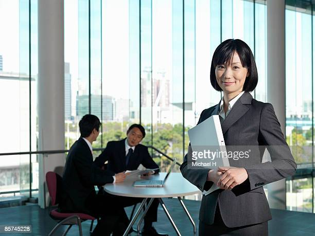 Woman who works happily
