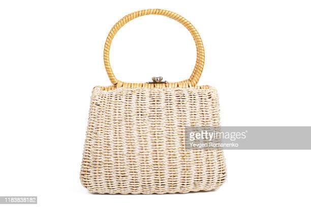 woman wicker handbag isolated on white background - handtasche stock-fotos und bilder