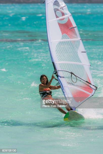 woman windsurfer - windsurfing stock pictures, royalty-free photos & images