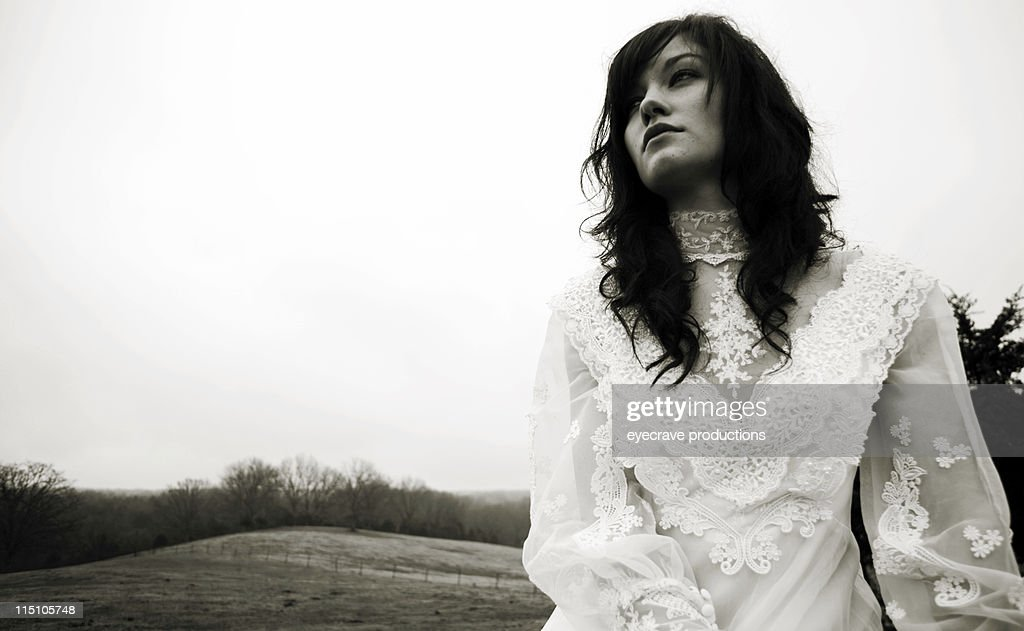 woman winter ranch portraits : Stock Photo
