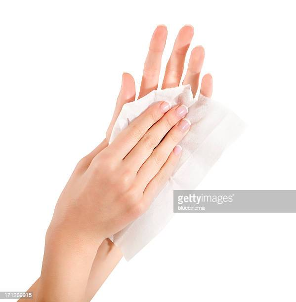 woman wipes his hands - rubbing stock photos and pictures