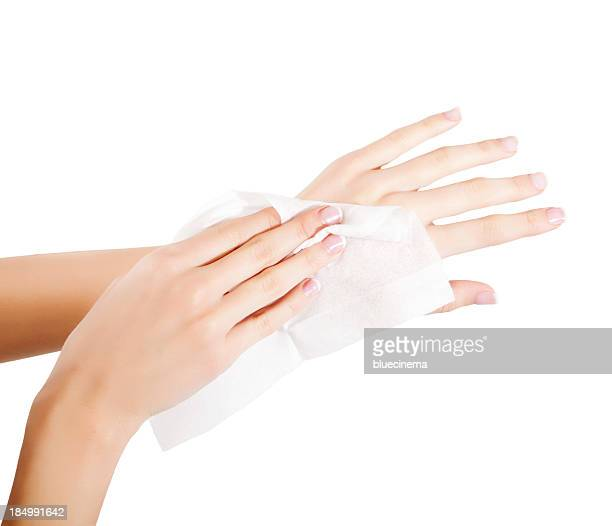 woman wipes his hands