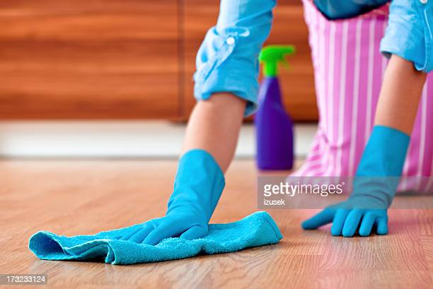 Woman Wiping Floor with Rag
