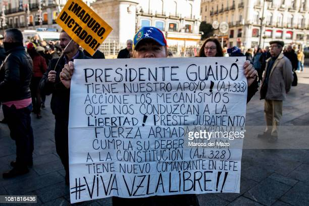 Woman with a banner supporting Juan Gerardo Guaid during a demonstration against Venezuelan President Nicolas Maduro. Maduro was sworn in for a...