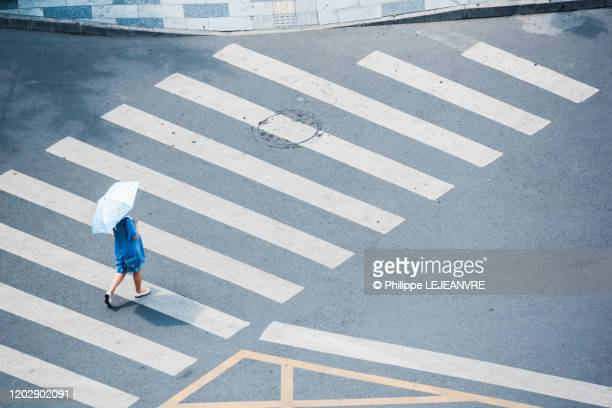 woman with a blue umbrella walking on a crosswalk - crossing stock pictures, royalty-free photos & images